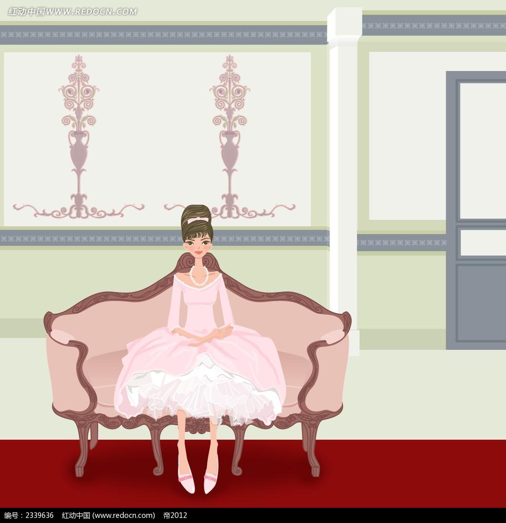 坐在椅子上的贵族小姐卡通人物漫画psd素材免费下载
