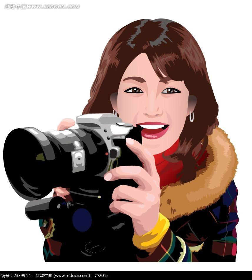 拿着单反相机的女生卡通漫画