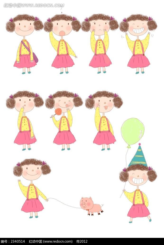 手绘卷发小女孩漫画