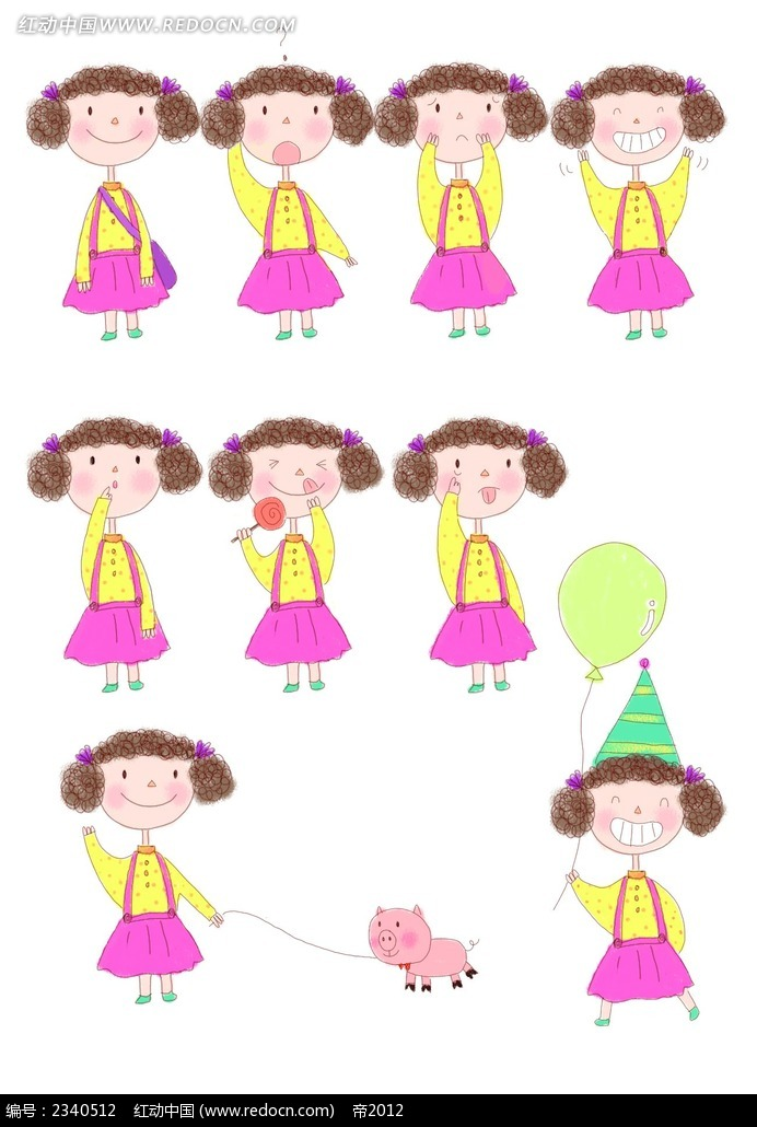 可爱卷发小女生漫画