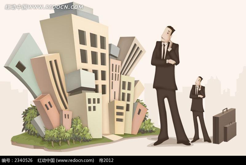 人物手提袋漫画男少女_卡通漫画西装城市和姐姐图片