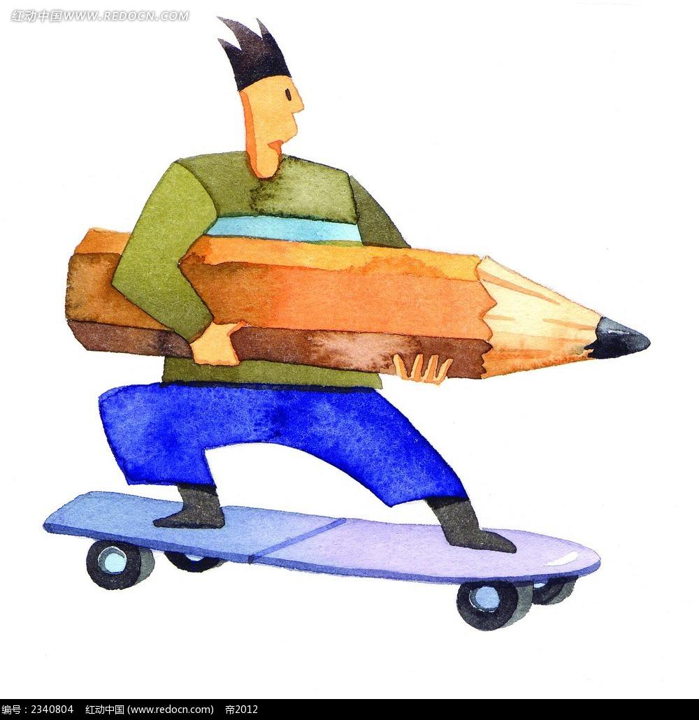 拿着铅笔玩滑板的男生人物漫画