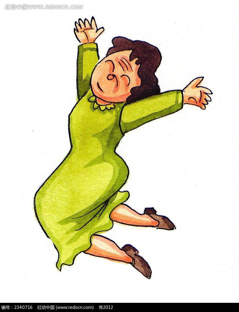 韩国水彩画张开双手的老太婆卡通人物漫画