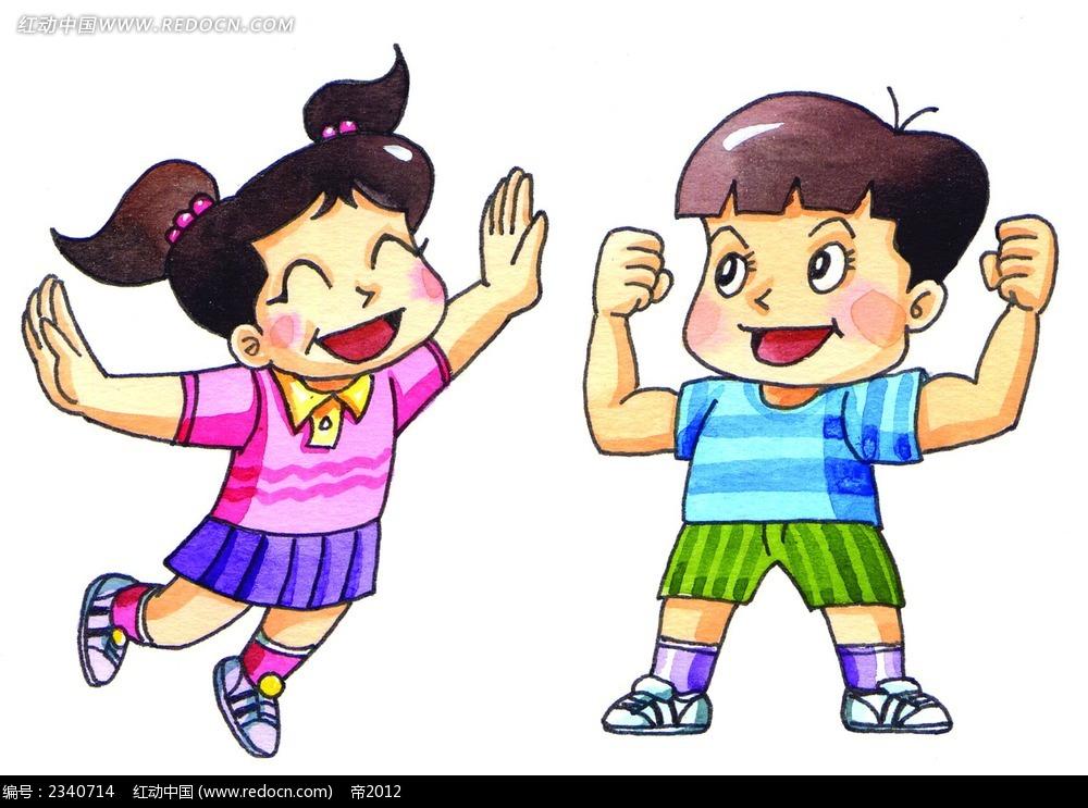 韩国水彩画运动的小学生卡通人物漫画