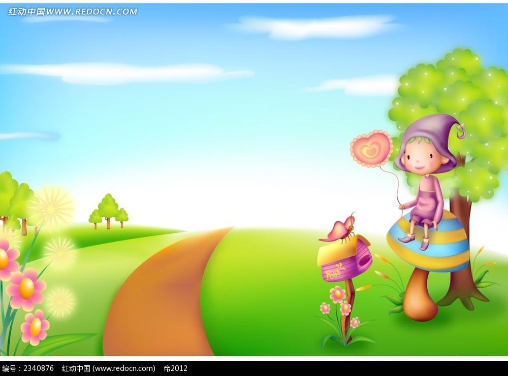 拿着气球的小女孩时尚漫画psd免费下载_卡通人物素材