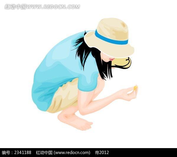 捡贝壳 的女孩卡通插画 卡通人物图片