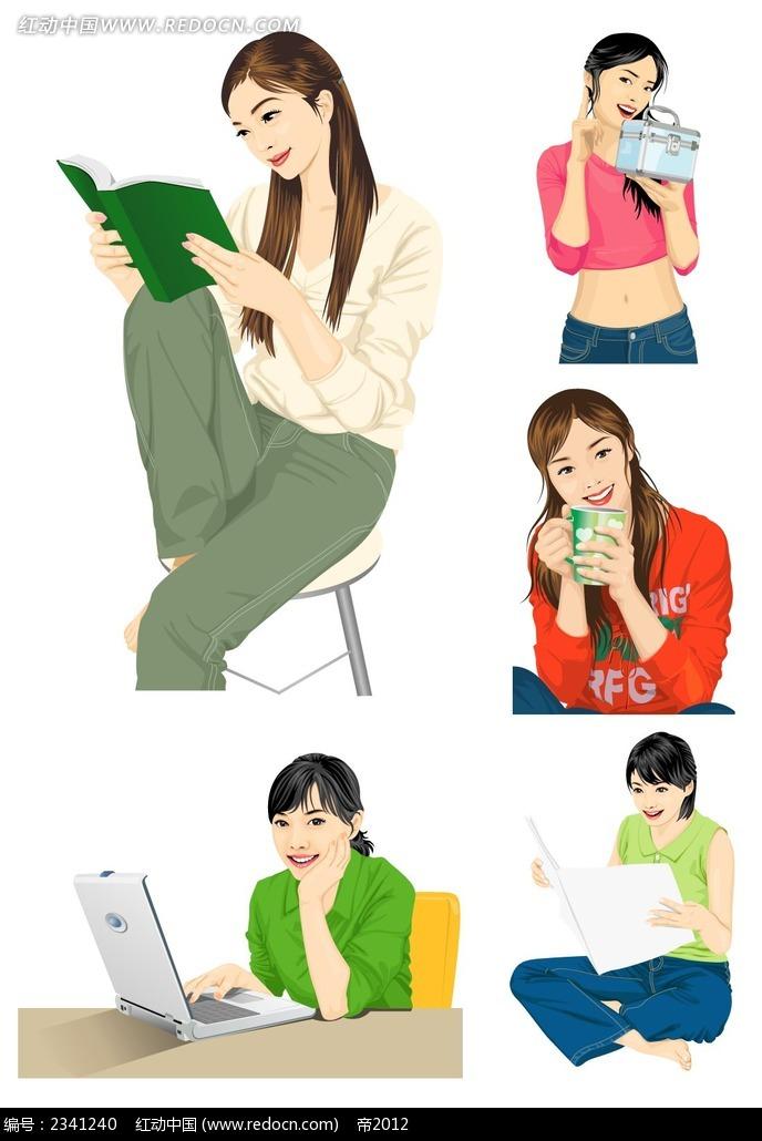 坐着看书的女生韩国插画psd免费下载_卡通人物素材