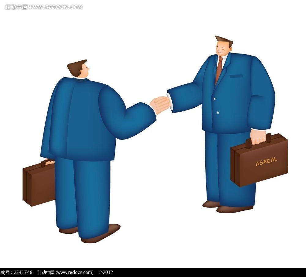 握手的西装男卡通人物插画