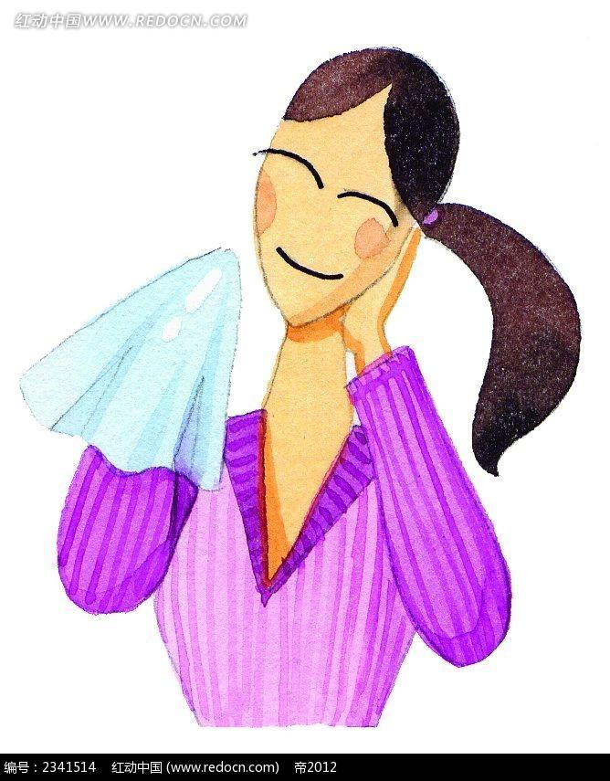 拿着手帕的女孩子插画