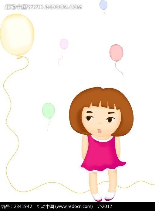 气球短发小女生卡通人物插画