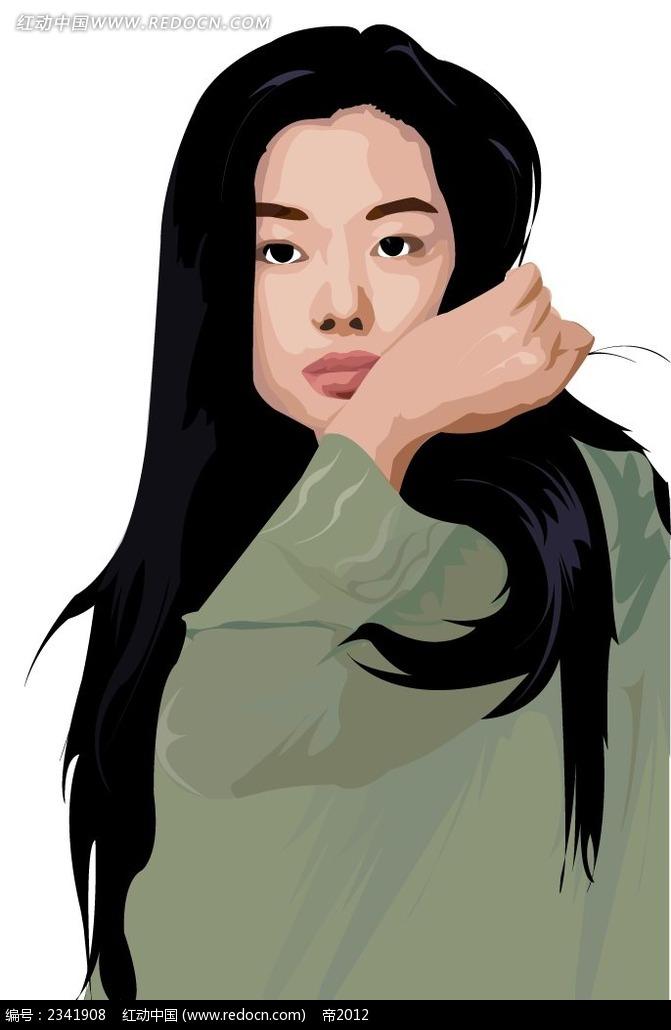 长发女生厚黑色女生简约人物插画_卡通女生手喜欢时尚的玩嘴唇图片