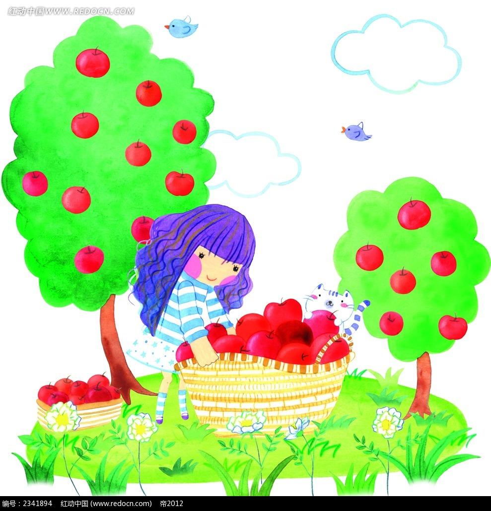 摘苹果的小女孩卡通人物漫画