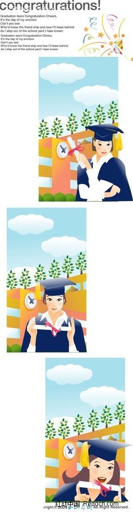 穿学士服的女孩子时尚人物漫画psd免费下载_卡通人物