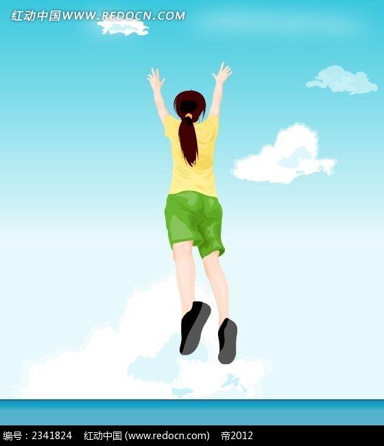 跳跃的马尾辫女生卡通人物插画