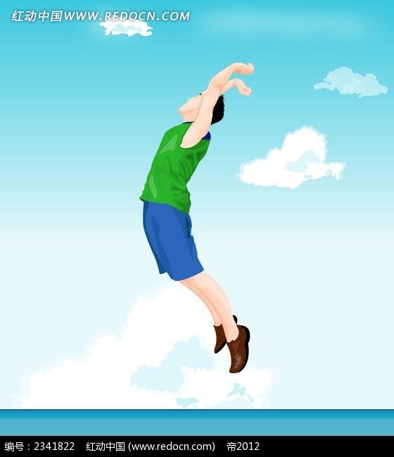 跳跃的男孩子卡通人物插画