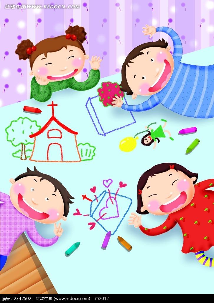 画画的小孩子卡通插画psd免费下载_卡通人物素材
