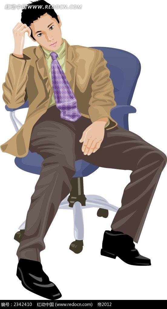 坐在椅子上的西装男角色插画psd免费下载