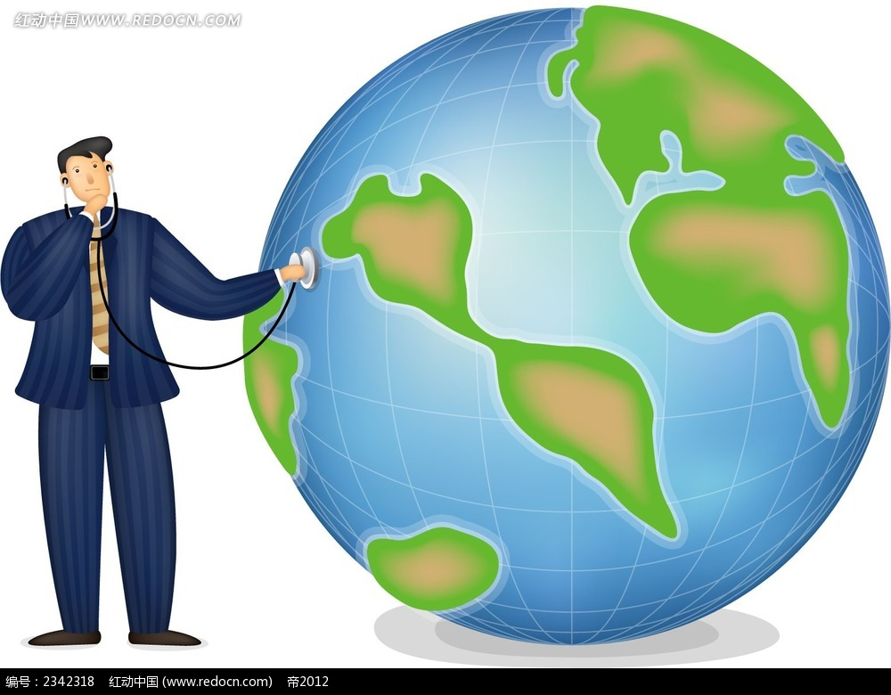 拿着听诊筒的地球西装男时尚漫画