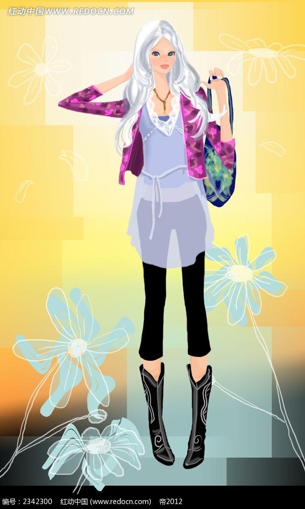 站立的白发女孩韩国人物漫画