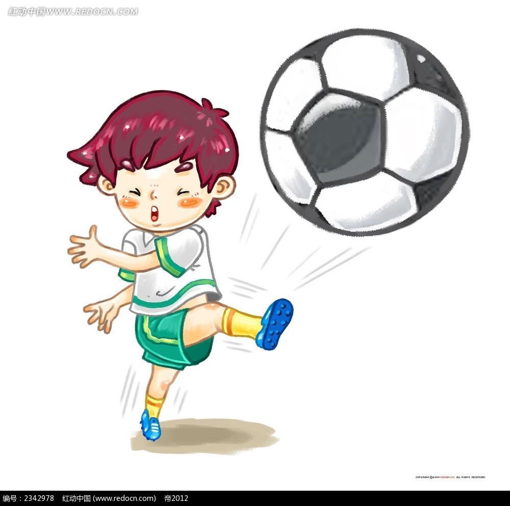 玩足球的小孩子时尚插画psd免费下载_卡通人物素材