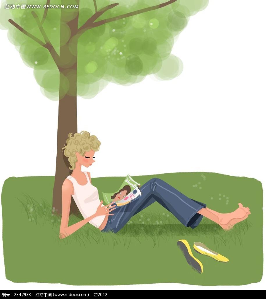 坐在树下看书的女孩子韩国插画图片