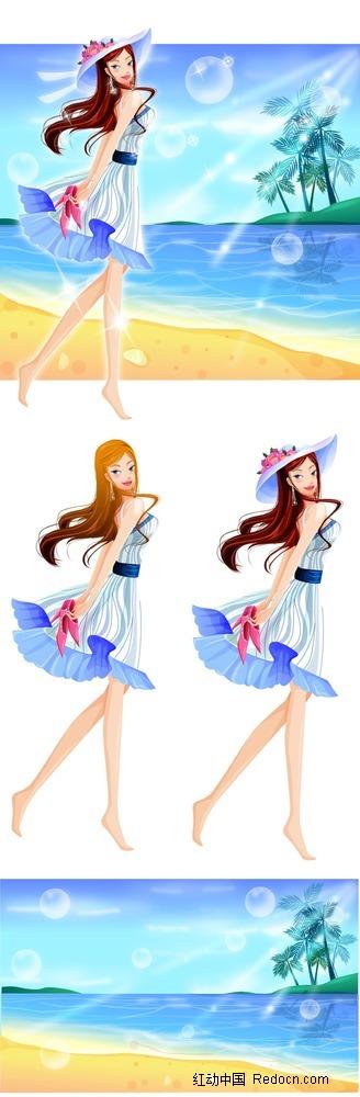 长腿沙滩美女简约时尚插画psd免费下载_卡通人物素材