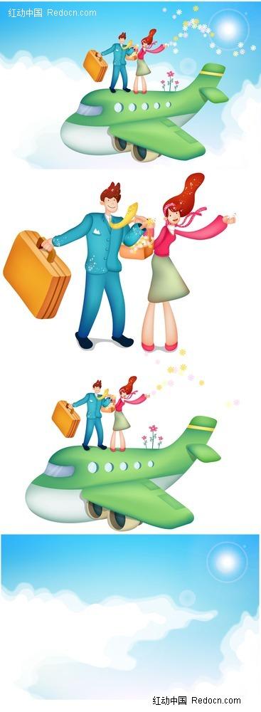 坐在飞机上出差的男女韩国插画psd免费下载_卡通人物