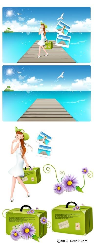 提着行李箱的女孩子韩国人物插画