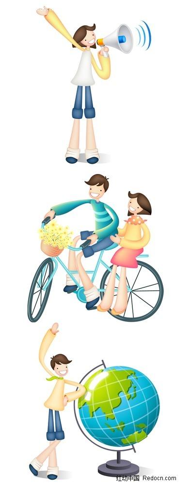 骑单车的情侣人物插画psd免费