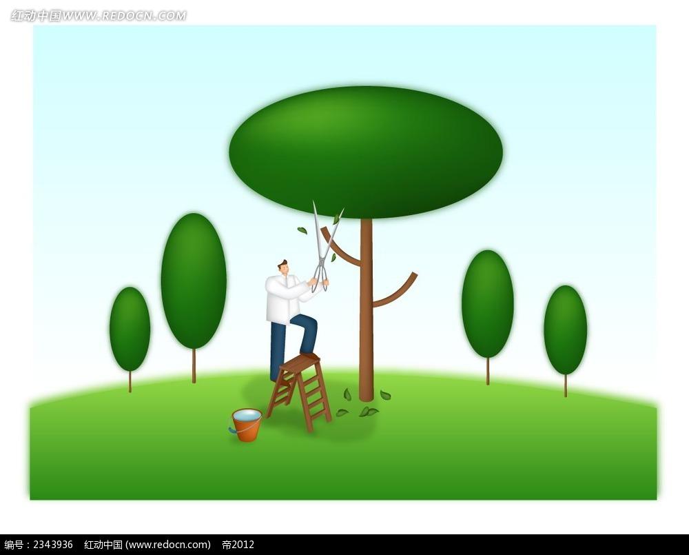 修剪树木的西装男卡通人物插画