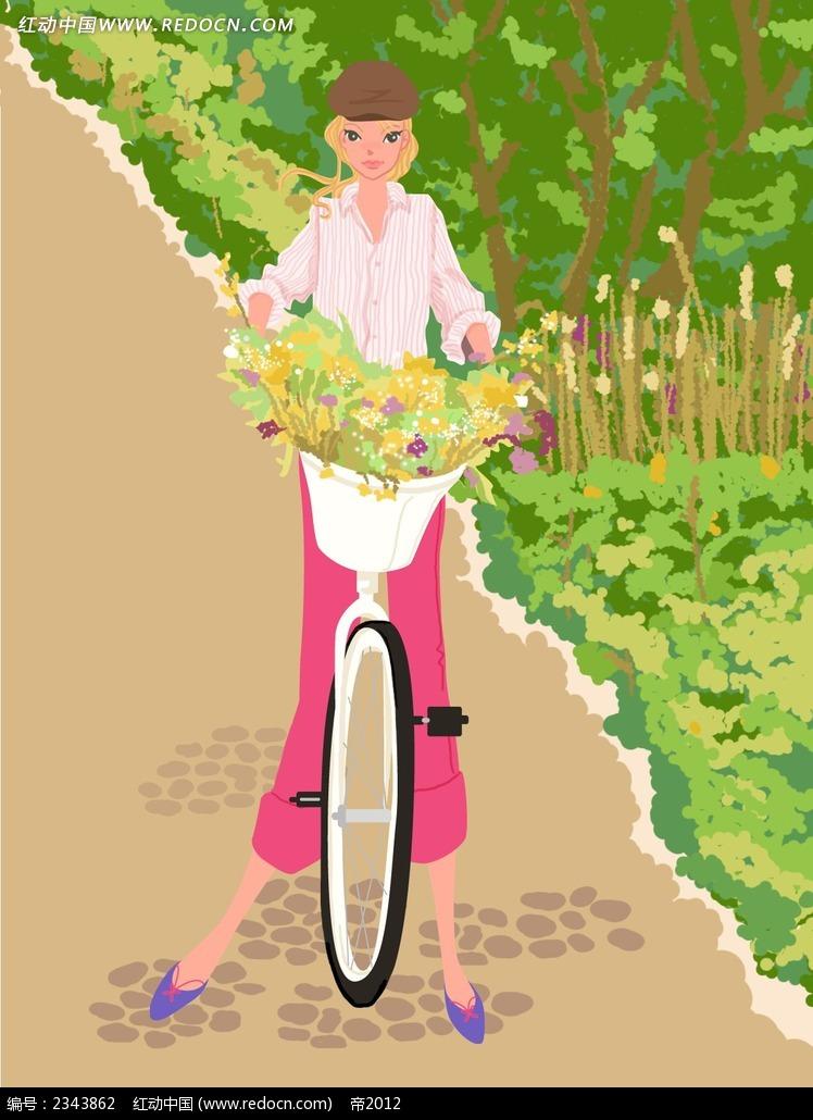 采花的单车女孩韩国人物插画