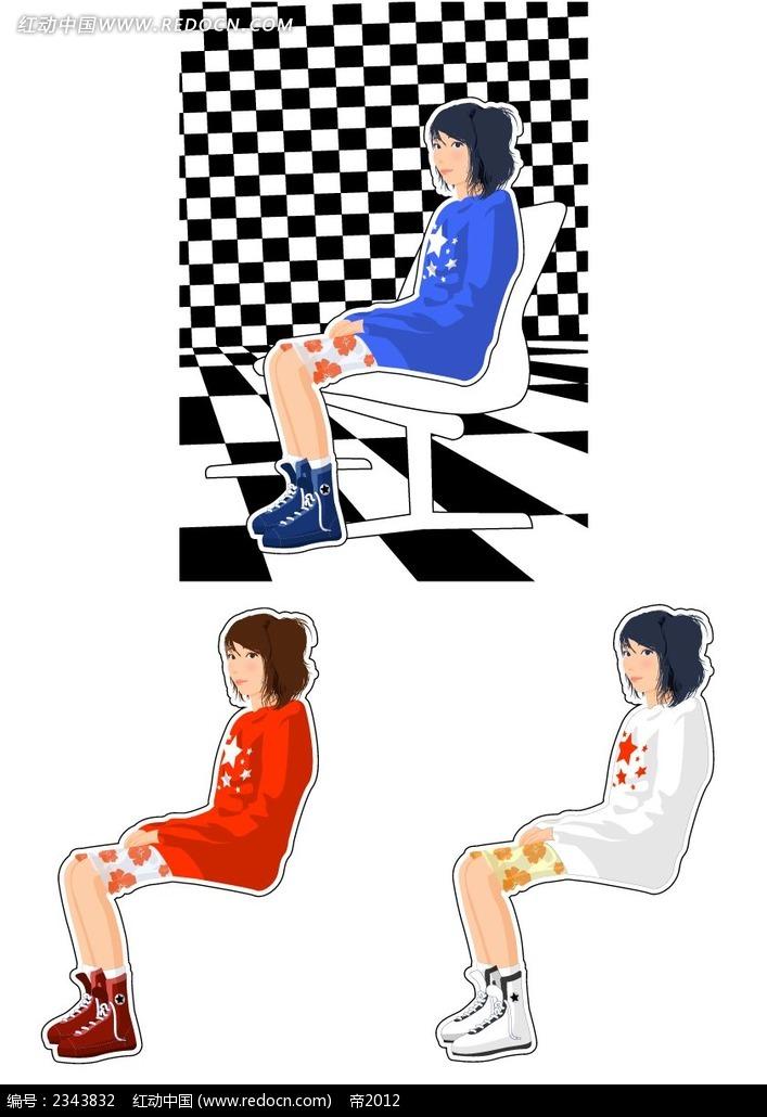 坐着女孩子人物插画psd免费下载_卡通人物素材