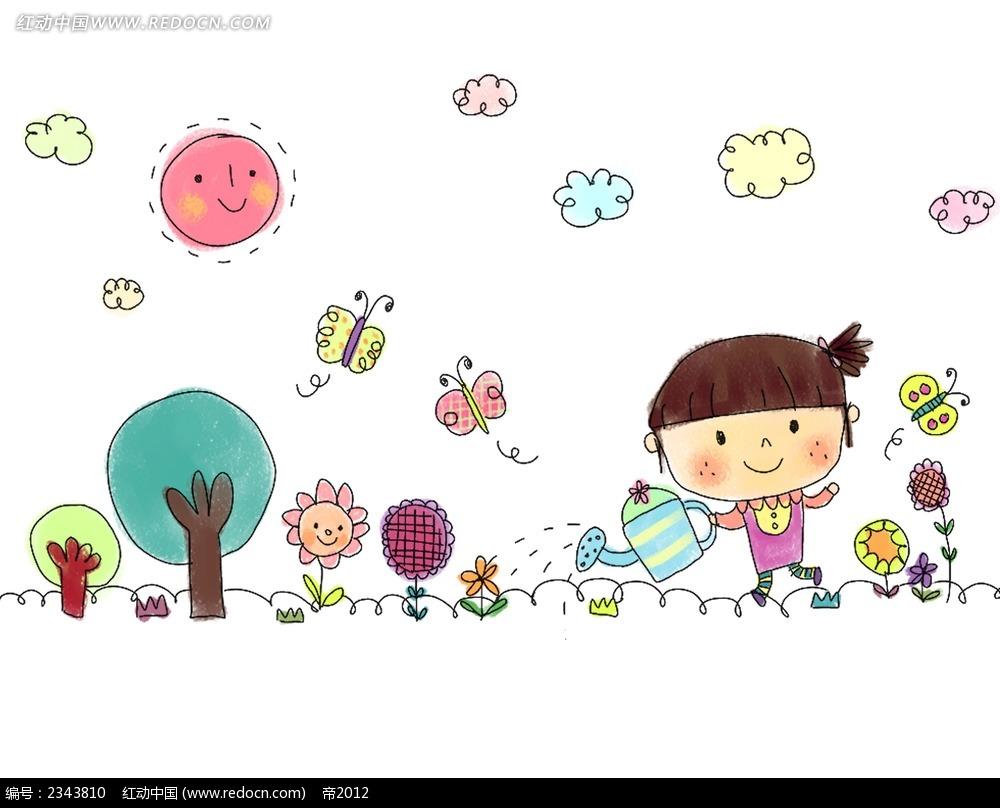浇灌花朵的小女孩简笔画时尚人物插画