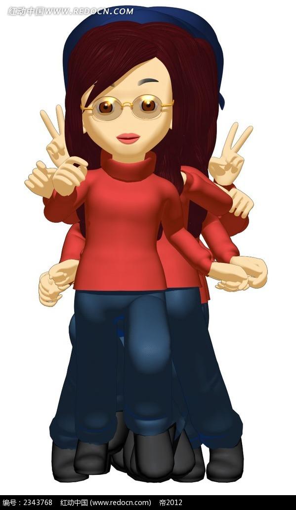 戴眼镜的3d动作女性卡通人物插画