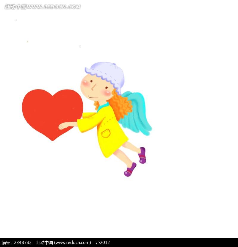 拿着爱心的小天使人物插画