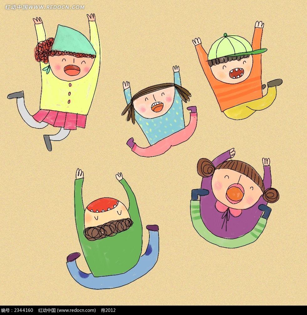笑哈哈的小孩子简笔画插画