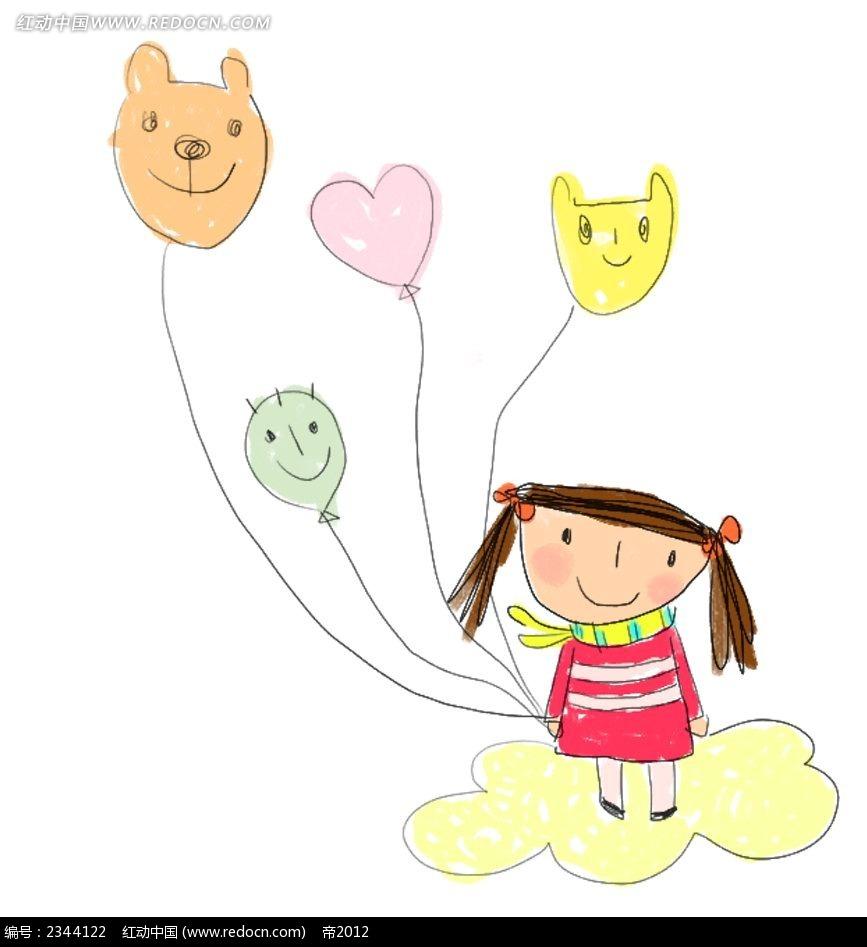 拿着气球的女孩子人物插画psd免费下载_卡通人物素材