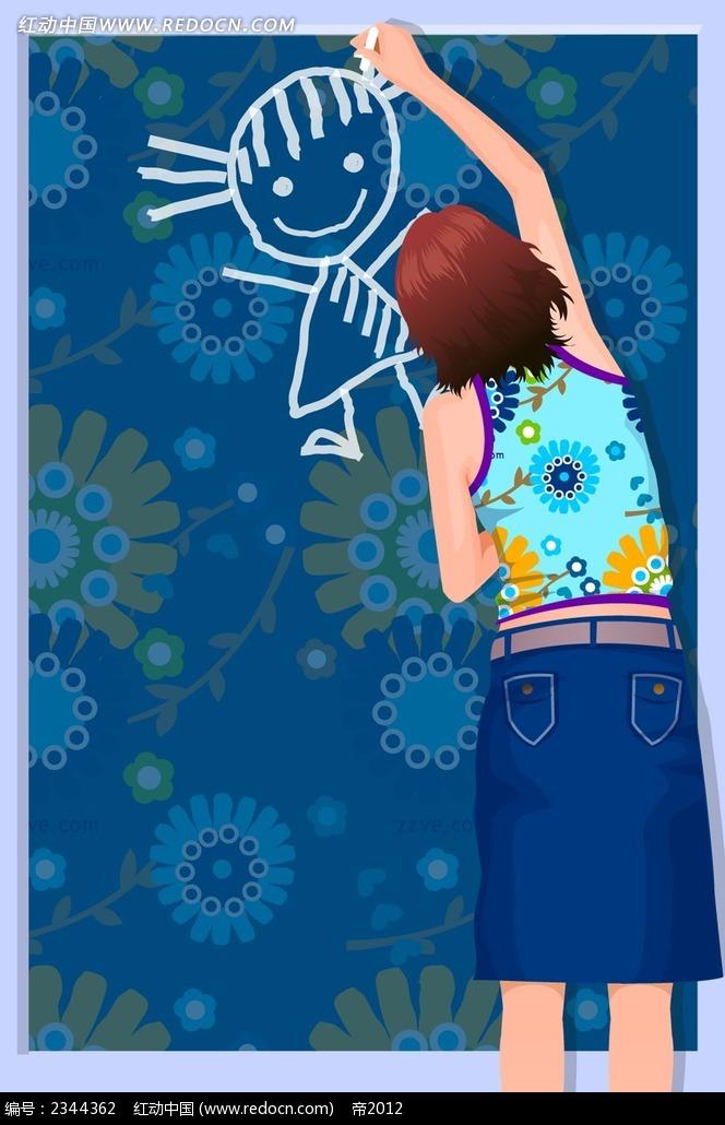 做涂鸦的短发女孩背影人物漫画