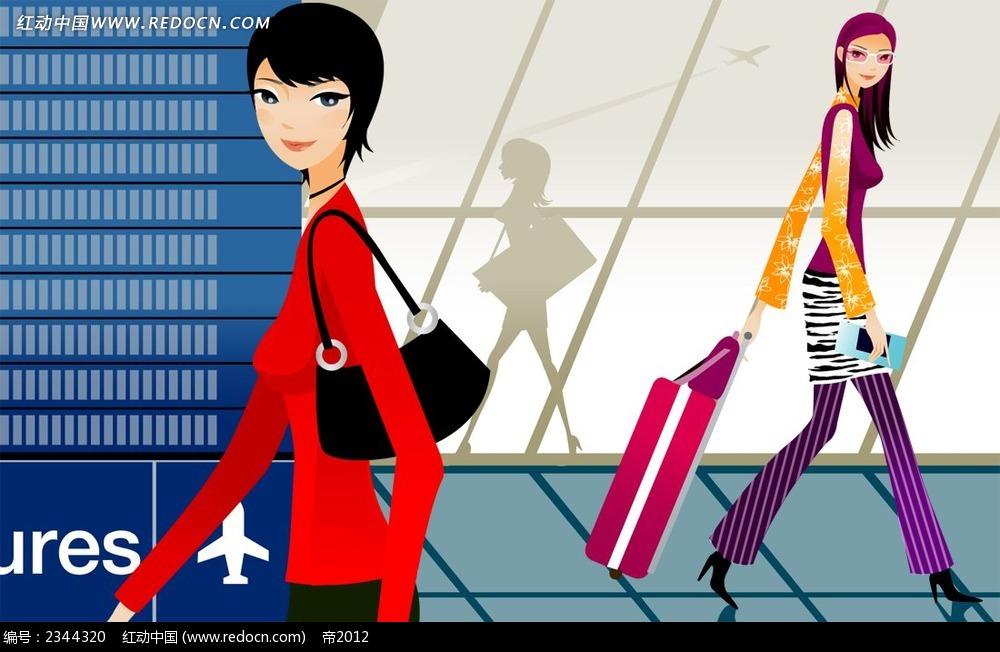 坐飞机拉行李箱的女孩子卡通漫画
