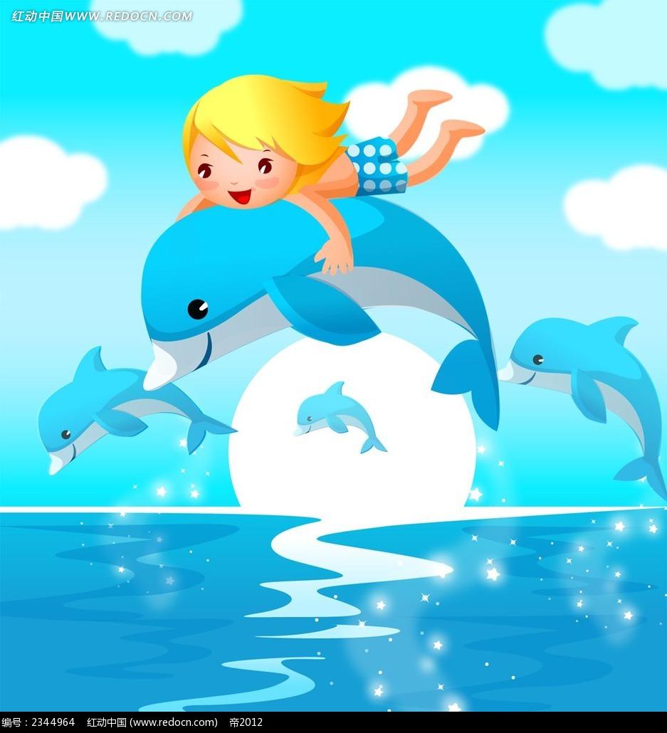 骑着海豚的小孩子角色插画_卡通人物