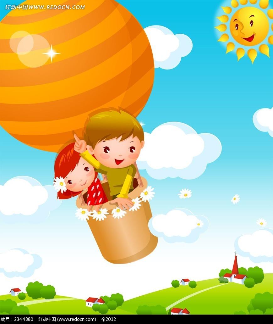 坐升空热气球的小朋友psd插画