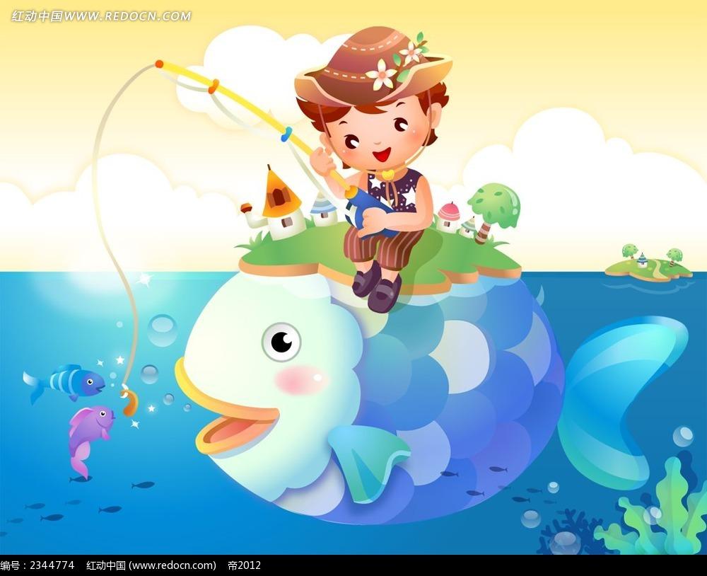 钓鱼的小男孩卡通插画