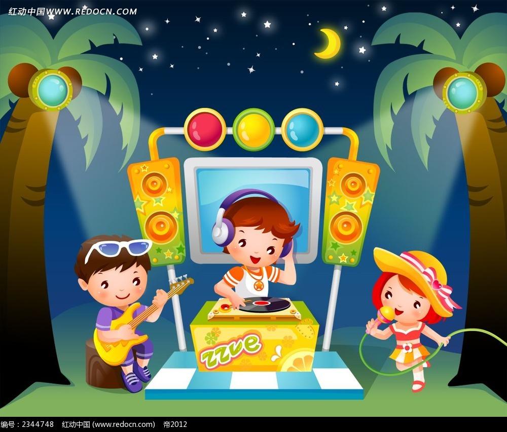 弹琴听音乐的小朋友psd插画免费下载_卡通人物素材
