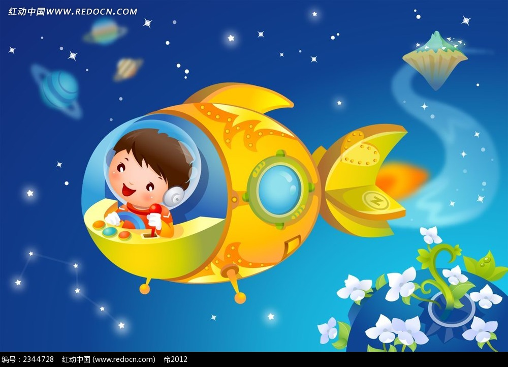 开着宇宙飞船的小孩子卡通人物漫画