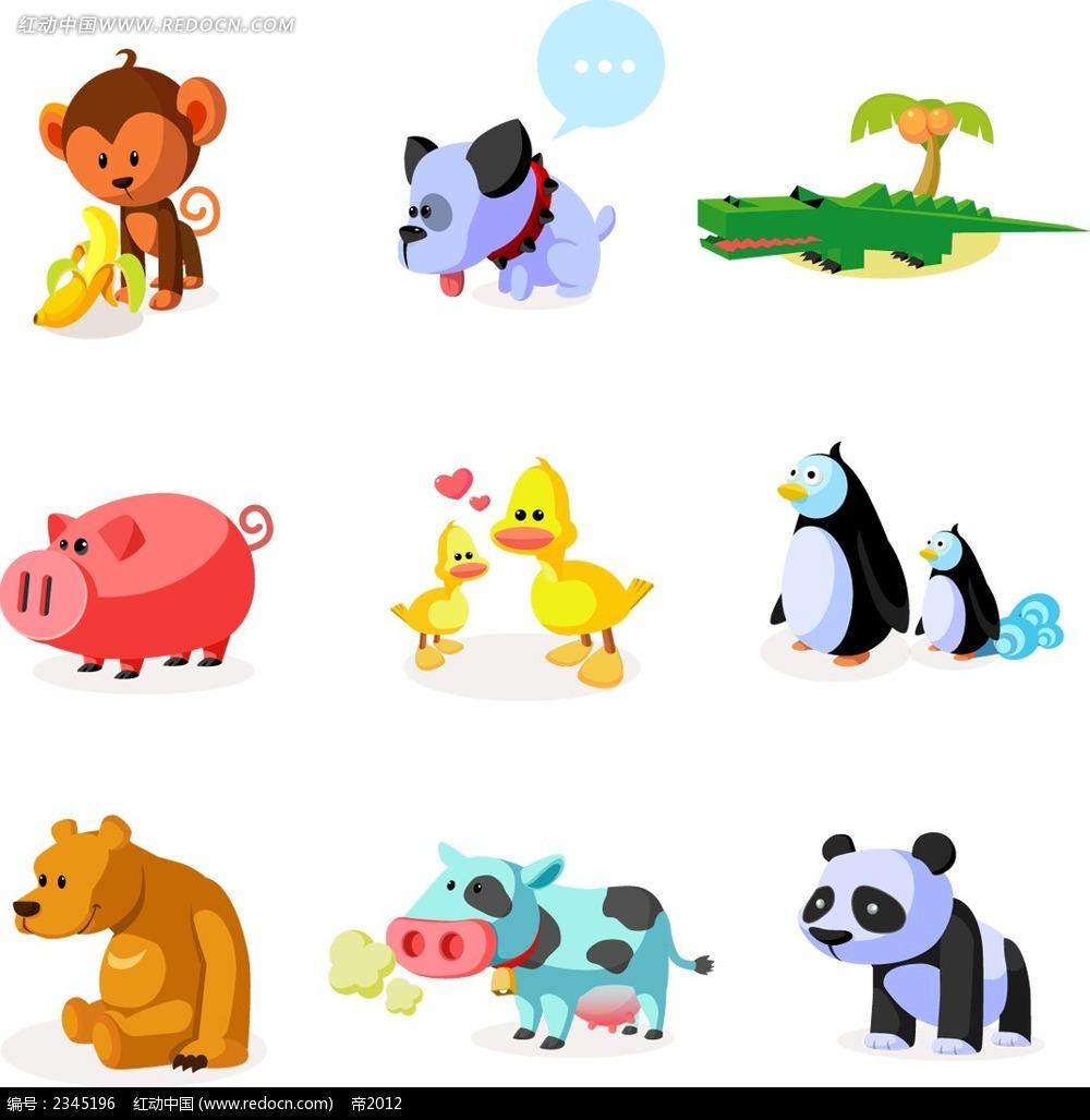 可爱小动物简约时尚插画