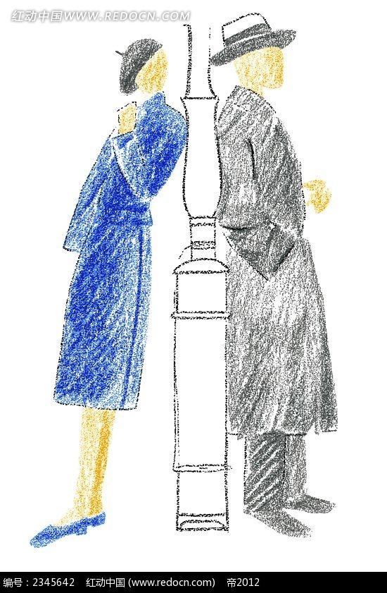 背靠背的情侣时尚人物漫画