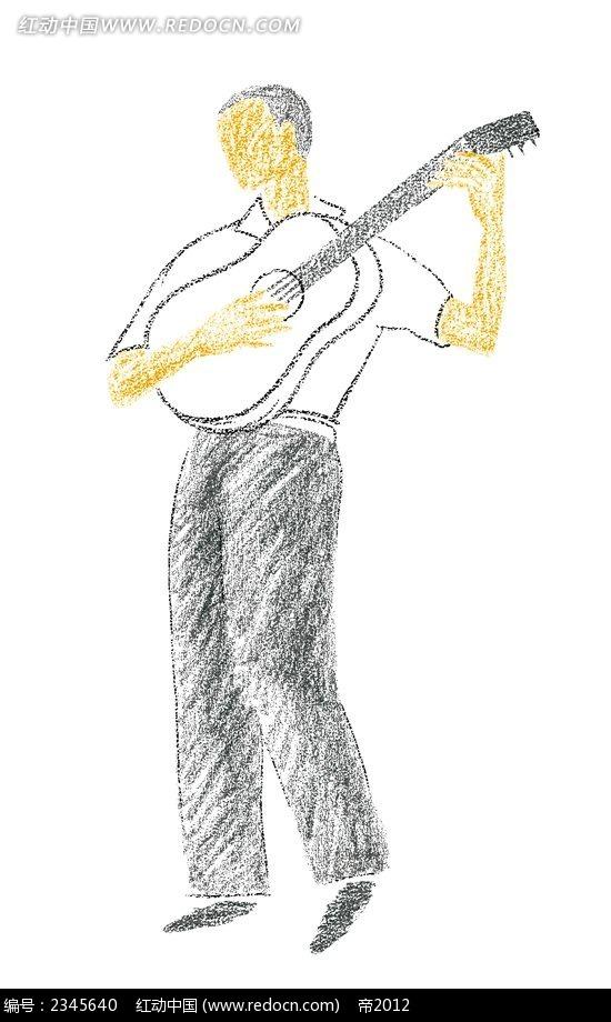 手绘弹吉他的男人