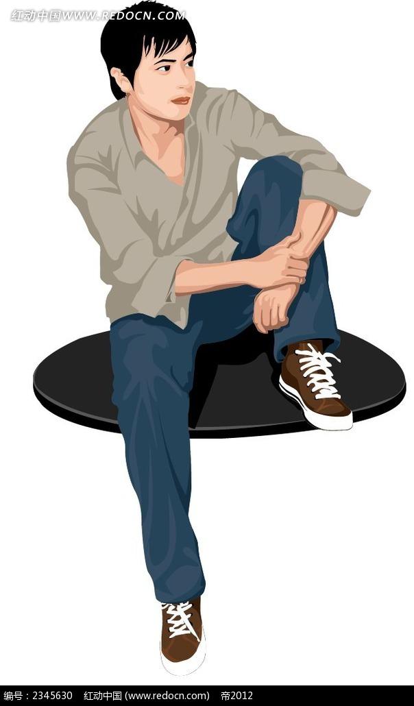抱着腿的男生时尚人物漫画