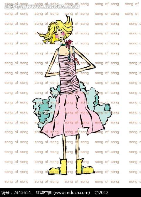 金色头发手绘女孩时尚人物漫画_卡通人物