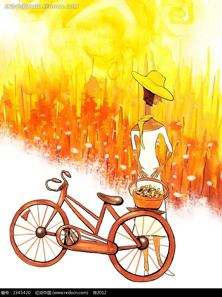 秋天骑单车的女生卡通人物插画